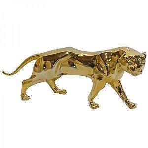 Estatueta Decorativa de Resina Jaguar Dourada