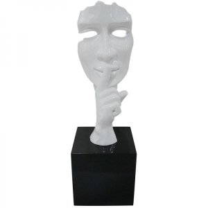 Escultura Decorativa em Resina Arts in The Face Silence Branca (26240)