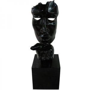 Escultura Decorativa em Resina Arts in The Face Blowing a Kiss Preto (26254)
