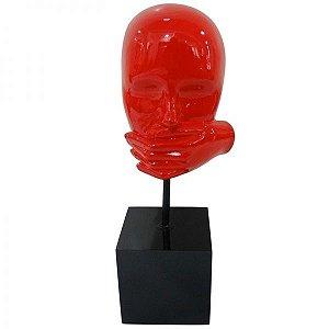 Escultura Decorativa em Resina Arts in The Face Mute Vermelho (26264)