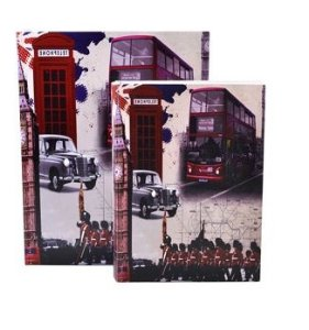 Jogo Caixa Livro Decorativa 2 Peças Estampa Inglaterra