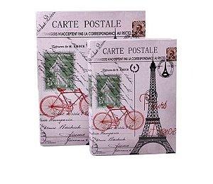 Jogo Caixa Livro Decorativa Em Madeira Estampa Paris Postale 2 Peças