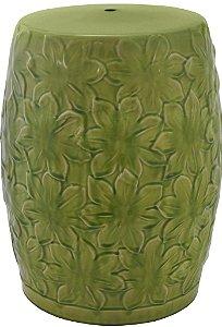 Banqueta Seat Garden em Porcelana Verde com Detalhes Florais (19104)