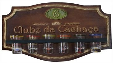 Placa Decorativa Clube da Cachaça com 6 Copos