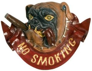 "Placa Decorativa Bulldog ""No Smoking"""