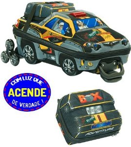 Mochila de Rodinha Mochilete 3D Escolar + Lancheira MaxToy Strada Adventure