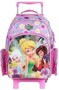 Mochila de Rodinhas Mochilete Escolar Grande Disney Fadas Tinkerbell Sininho (60198)