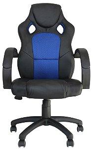 Cadeira Office Racer Preto e Azul