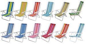 Cadeira de Praia em Aço Reclinável 4 Posições Estampada em Listras Coloridas