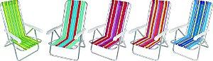 Cadeira de Praia em Alumínio Reclinável 4 Posições Estampada em Listras Coloridas