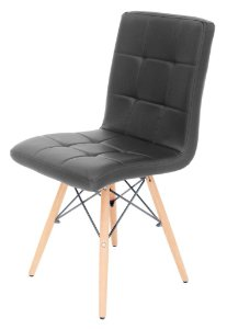Cadeira Eiffel Charles Eames PU Preto