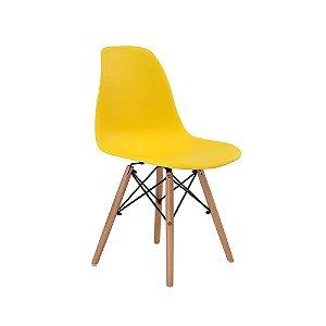 Cadeira Design Charles Eames Eiffel Amarelo Plástico Base Madeira