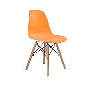 Cadeira Design Charles Eames Eiffel Laranja Plastico Base Madeira