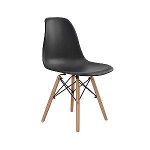 Cadeira Design Charles Eames Eiffel Preta Plástico Base Madeira