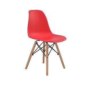 Cadeira Design Charles Eames Eiffel Vermelha Plástico Base Madeira