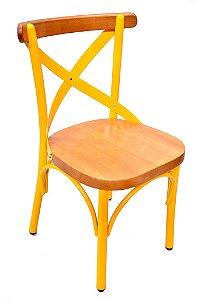Cadeira Uruguai Ferro Amarelo Encosto Mel