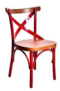 Cadeira Uruguai Ferro Vermelha Encosto Castanho