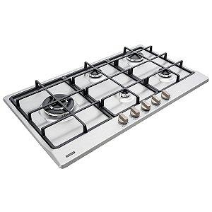 Cooktop a Gás Tramontina Penta Plus em Aço Inox e Trempes em Ferro Fundido com Acendimento Automático 5 Queimadores - 94752/104