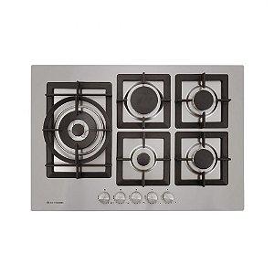 Cooktop Elettromec a Gás Quadratto 5 Bocas Tripla Chama Lateral Inox Gusa 75cm CKG-5Q-75-XQ-3ZEA
