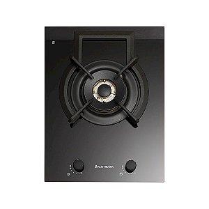 Cooktop Elettromec Dominó Vetro Dual Flame 1 Boca Inox 38cm Bivolt - DG-1Q-38-VT-3ZEA