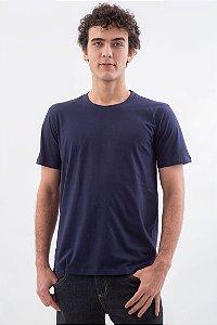 Camiseta Básica Masculina Gola Olímpica Malha Fio Algodão Orgânico Marinho