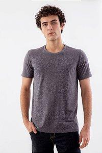 Camiseta Básica Masculina Gola Olímpica Malha Botonê Eco Cinza Mescla