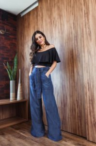 Calça Pantalona Diana - Escura