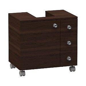 Gabinete 3 gavetas e 1 porta WC com recorte para coluna com rodinha