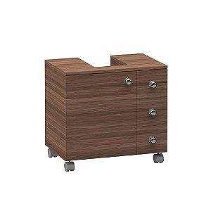 Montagem de gabinete 3 gavetas e 1 porta com recorte para coluna