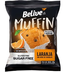 Muffin Laranja com Gotas de Chocolate Zero - BeLive  40g