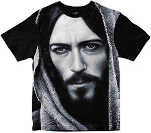 Camiseta Face de Cristo preto e branco Rainha do Brasil