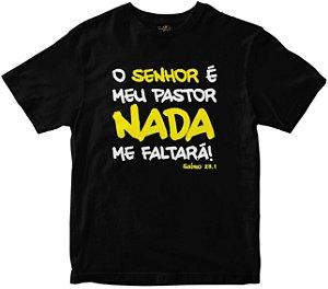 Camiseta O Senhor é Meu Pastor preta Rainha do Brasil