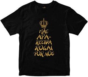 Camiseta Mãe Aparecida Rogai por nós preta Rainha do Brasil