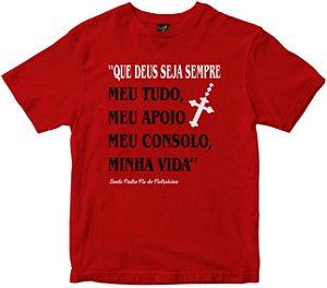 Camiseta Deus Seja Sempre meu tudo vermelha Rainha do Brasil