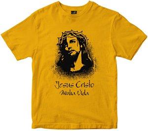 Camiseta Jesus Cristo minha vida amarela Rainha do Brasil