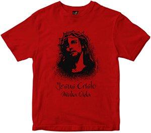Camiseta Jesus Cristo minha vida vermelha Rainha do Brasil
