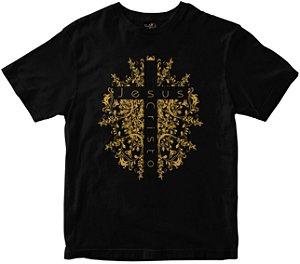 Camiseta Cruz de Jesus Cristo preta Rainha do Brasil