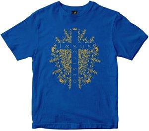 Camiseta Cruz de Jesus Cristo azul Rainha do Brasil