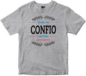 Camiseta Jesus Eu Confio em vós mescla Rainha do Brasil