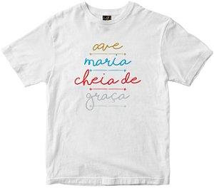 Camiseta Ave Maria Cheia de Graça branca Rainha do Brasil