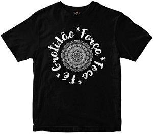 Camiseta Gratidão Força Foco e Fé preta Rainha do Brasil
