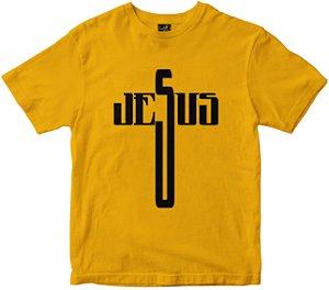 Camiseta Jesus em Cruz amarela Rainha do Brasil