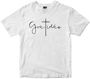 Camiseta Gratidão T em cruz branca Rainha do Brasil