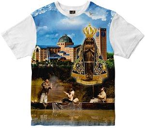 Camiseta N Senhora Aparecida com pescadores Rainha do Brasil