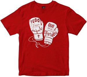 Camiseta Tudo Posso naquele que me fortelece vermelha Rainha do Brasil