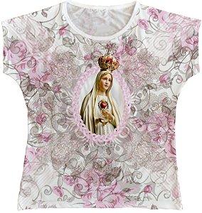 Blusa Feminina bata Nossa Senhora de Fátima Rainha do Brasil