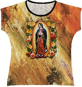 Blusa Feminina bata Nossa Senhora de Guadalupe Rainha do Brasil