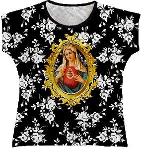 Blusa Feminina bata Sagrado Coração de Maria Rainha do Brasil