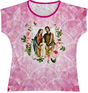 Blusa Feminina bata Sagrada Família Rainha do Brasil