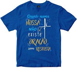 Camiseta Quando usamos Nossa Fé azul Rainha do Brasil